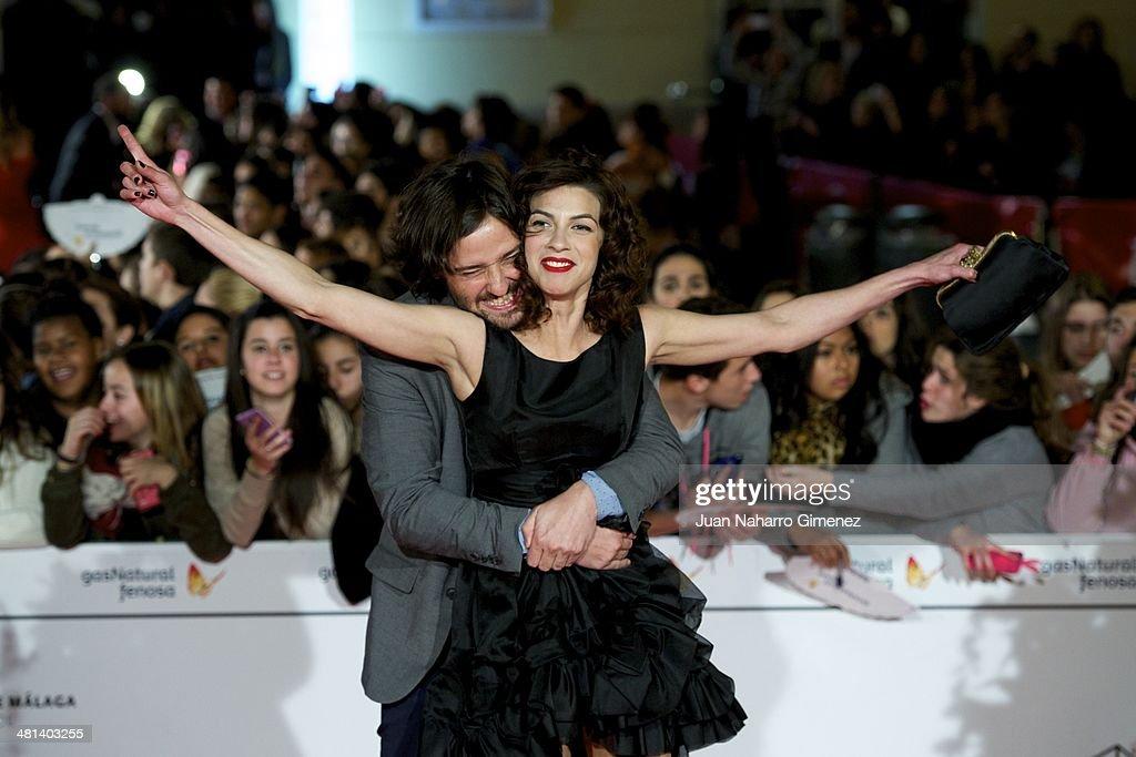 Carlos Marques-Marcet (L) and Natalia Tena attend the 17th Malaga Film Festival 2014 closing ceremony at the Cervantes Theater on March 29, 2014 in Malaga, Spain.