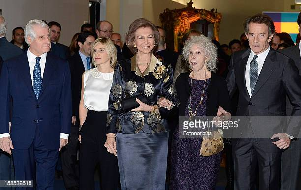 Carlos Martinez de Irujo Eugenia Martinez de Irujo Queen Sofia of Spain Cayetana FitzJames Stuart Duchess of Alba and her husband Alfonso Diez attend...