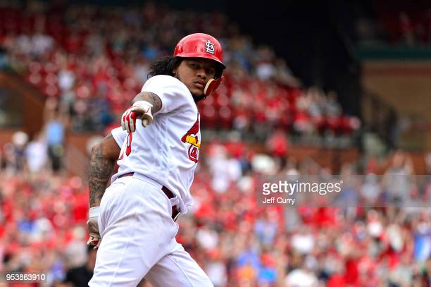 Carlos Martinez of the St Louis Cardinals celebrates after hitting a solo home run during the sixth inning against the Chicago White Sox at Busch...