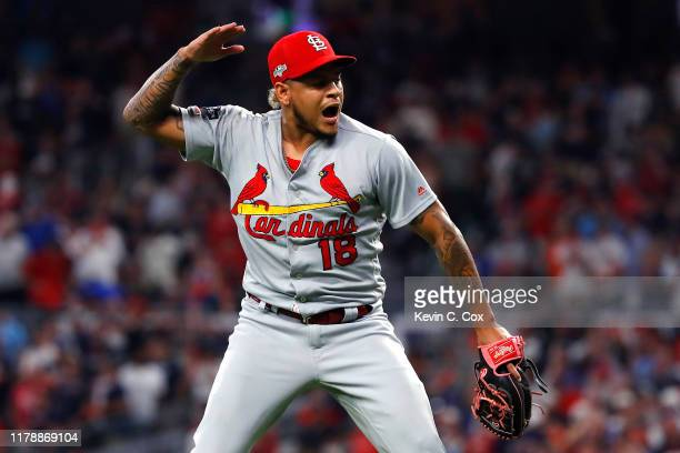 Carlos Martinez of the St. Louis Cardinals celebrates his teams 7-6 win over the Atlanta Braves in game one of the National League Division Series at...