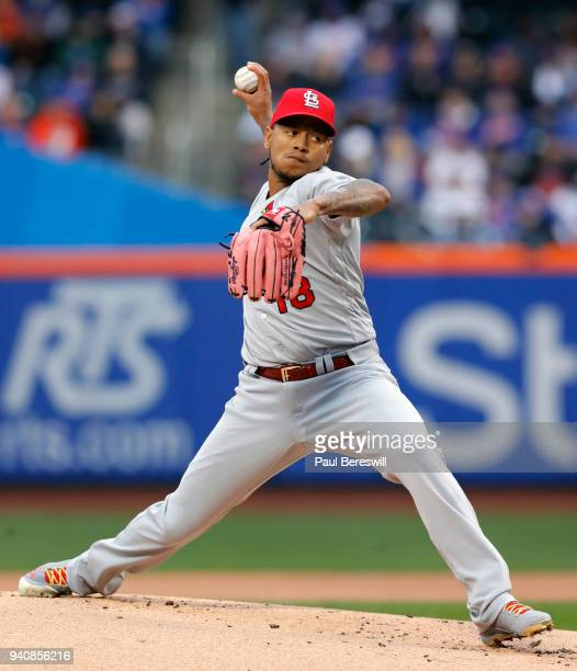 Carlos Martinez of the St Louis Cardinals follows through in the New York Mets home opening day game of the 2018 MLB baseball season on March 29 2018...
