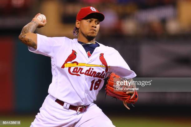 Carlos Martinez of the St Louis Cardinals pitches against the Chicago Cubs in the first inning at Busch Stadium on September 26 2017 in St Louis...