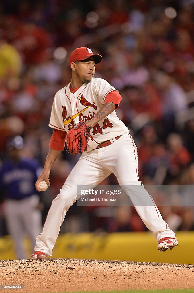 Carlos Martinez #44 of the St. Louis Cardinals pitches against the Colorado Rockies in the seventh inning at Busch Stadium on September 13, 2014 in St. Louis, Missouri. The Cardinals defeated the Rockies 5-4.