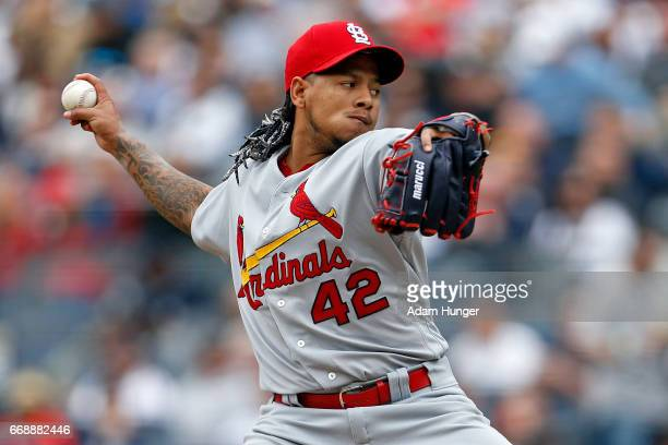 Carlos Martinez of the St Louis Cardinals pitches against the New York Yankees during the third inning at Yankee Stadium on April 15 2017 in the...