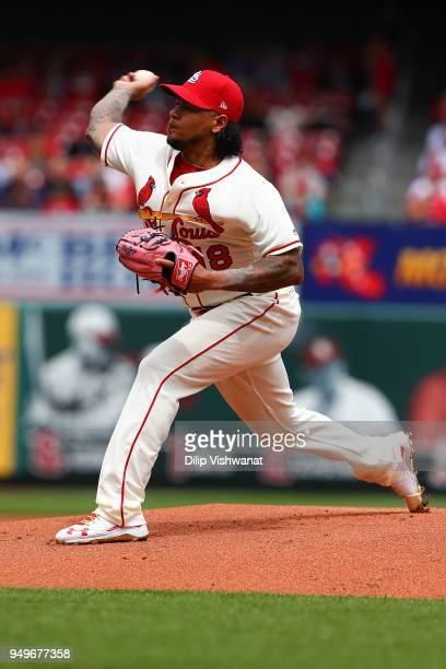 Carlos Martinez of the St Louis Cardinals pitches against the Cincinnati Reds in the first inning at Busch Stadium on April 21 2018 in St Louis...