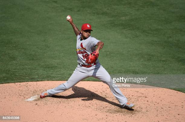 Carlos Martinez of the St Louis Cardinals pitches during the fifth inning of a baseball game against the San Diego Padres at PETCO Park on September...