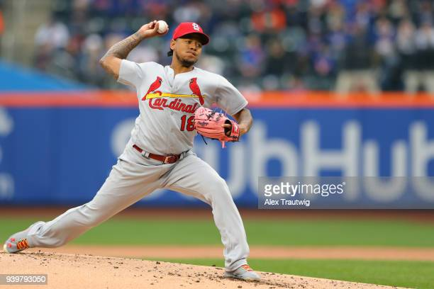 Carlos Martinez of the St Louis Cardinals pitches during the game against the New York Mets at Citi Field on Thursday March 29 2018 in the Queens...