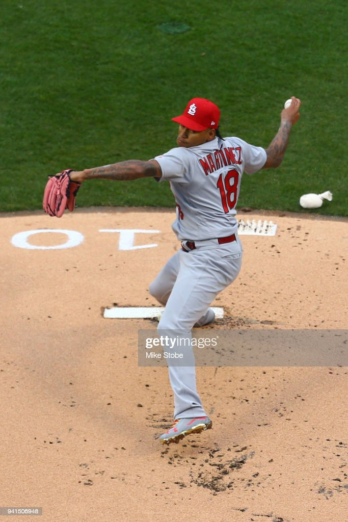 Carlos Martinez #18 of the St. Louis Cardinals pitches in the first inning against the New York Mets on Opening Day at Citi Field on March 29, 2018 in the Flushing neighborhood of the Queens borough of New York City. New York Mets defeated the St. Louis Cardinals 9-4.