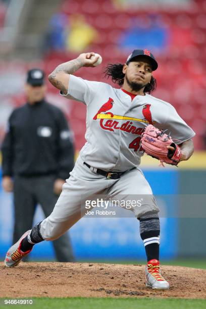 Carlos Martinez of the St Louis Cardinals pitches in the first inning of the game against the Cincinnati Reds at Great American Ball Park on April 15...