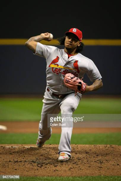 Carlos Martinez of the St Louis Cardinals pitches in the fourth inning against the Milwaukee Brewers at Miller Park on April 4 2018 in Milwaukee...