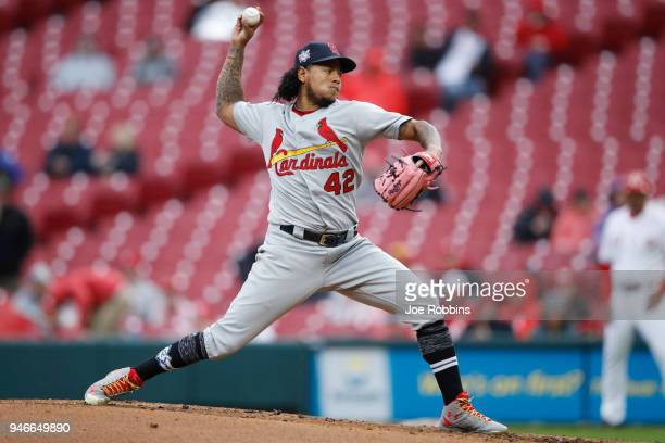 Carlos Martinez of the St Louis Cardinals pitches in the second inning of the game against the Cincinnati Reds at Great American Ball Park on April...