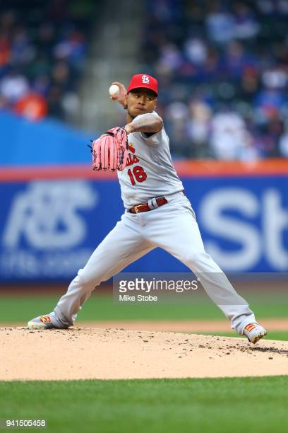 Carlos Martinez of the St Louis Cardinals pitches in the second inning against the New York Mets on Opening Day at Citi Field on March 29 2018 in the...