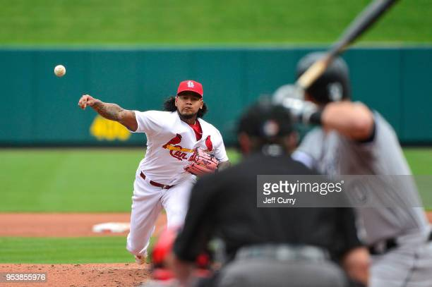 Carlos Martinez of the St Louis Cardinals pitches to Nicky Delmonico of the Chicago White Sox during the fourth inning at Busch Stadium on May 2 2018...