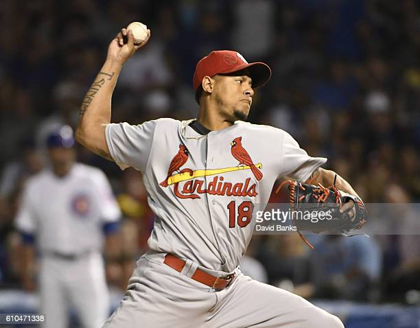 Carlos Martinez of the St Louis Cardinals throws against the Chicago Cubs on September 25 2016 at Wrigley Field in Chicago Illinois