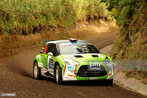 Carlos Martins and Daniel Amaral in Citroen DS3 R5 during the shakedow of the FIA ERC Azores Airlines Rallye 2016 in Ponta Delgada Azores Portugal on...