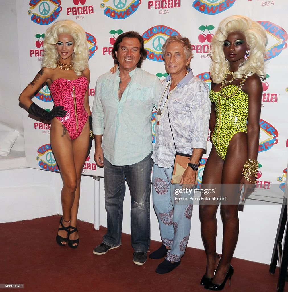 Carlos Martorell (2R) and Pepe Navarro (2L) attend 'Flower Power' Party 2012 at Pacha Club on August 7, 2012 in Ibiza, Spain.