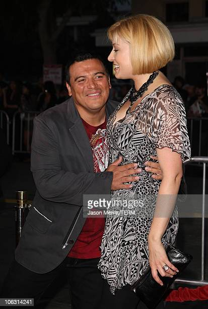 """Carlos Mencia and Amy Mencia arrives at """"The Heartbreak Kid"""" premiere at the Mann Village Theatre on September 27, 2007 in Westwood, California."""