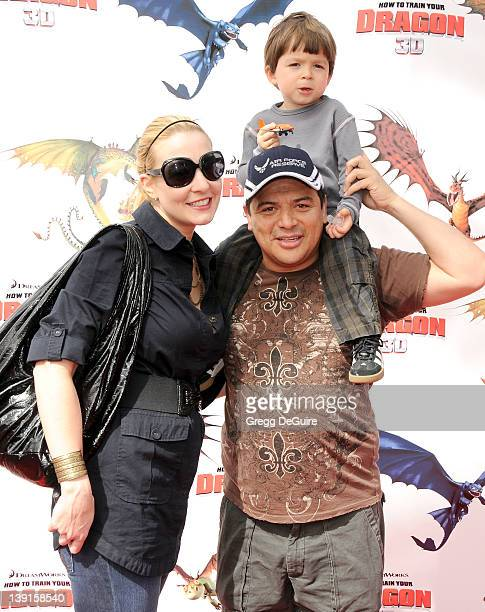 Carlos Mencia wife Amy and son Lucas arrive at the Los Angeles Premiere of How To Train Your Dragon at the Gibson Amphitheatre on March 21 2010 in...