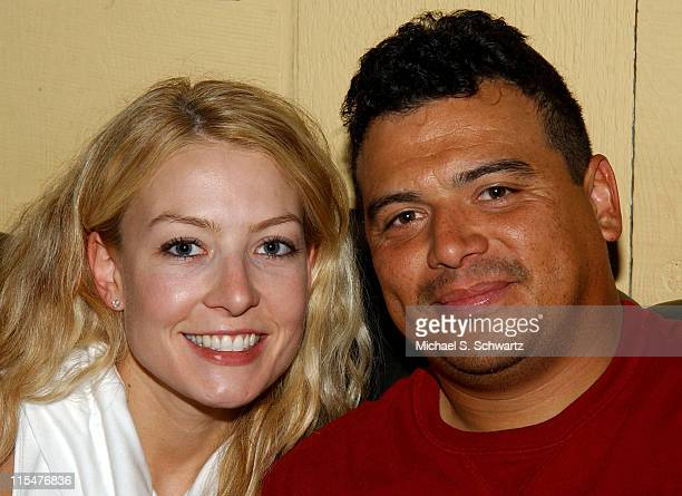 Carlos Mencia with his wife Amy in The Green Room during Comedian Carlos Mencia Ends A Marathon 10 Shows at The Ice House September 31 2003 at The...