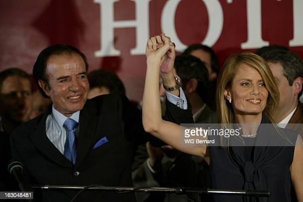 Carlos Menem Leads In The Second Round Of Presidential Elections Les résultats du 1er tour des élections présidentielles Carlos MENEM arrivant en...