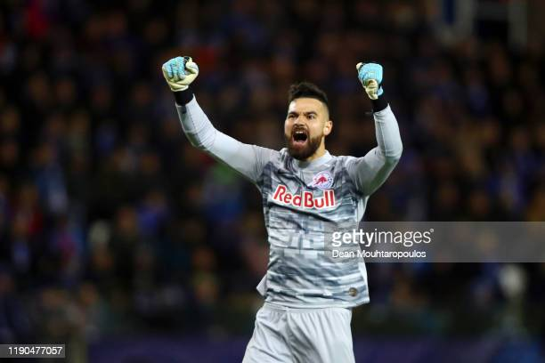 Carlos Miguel Coronel of Red Bull Salzburg celebrates his team's third goal during the UEFA Champions League group E match between KRC Genk and RB...