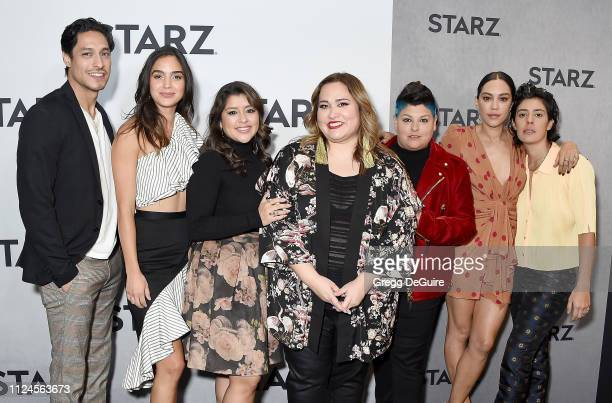 Carlos Miranda Melissa Barrera Chelsea Rendon Ser Anzoategui Mishel Prada and Roberta Colindrez attend the 2019 Winter TCA Tour STARZ Red Carpet...