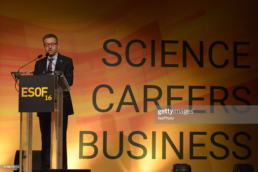 Carlos Moedas, European Commissioner for Research, Science and Innovation, speaking at the EuroScience Open Forum conference on July 25th, 2016, in Manchester, England.