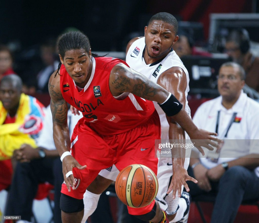 Carlos Morais (L) of USA battles for the ball with Eric Gordon of Angola at the 2010 World Championships of Basketball during the game between USA vs Angola on September 6, 2010 in Istanbul, Turkey.
