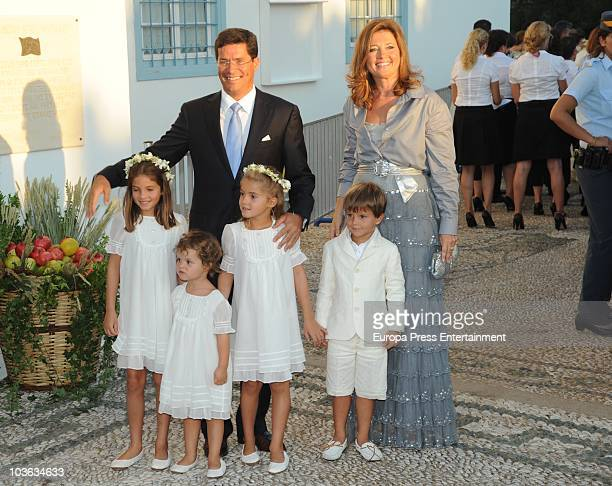 Carlos Morales and Alexia of Greece and their kids Arrieta Morales Amelia Morales AnnaMaria Morales and Carlos Morales arrive to attend the wedding...