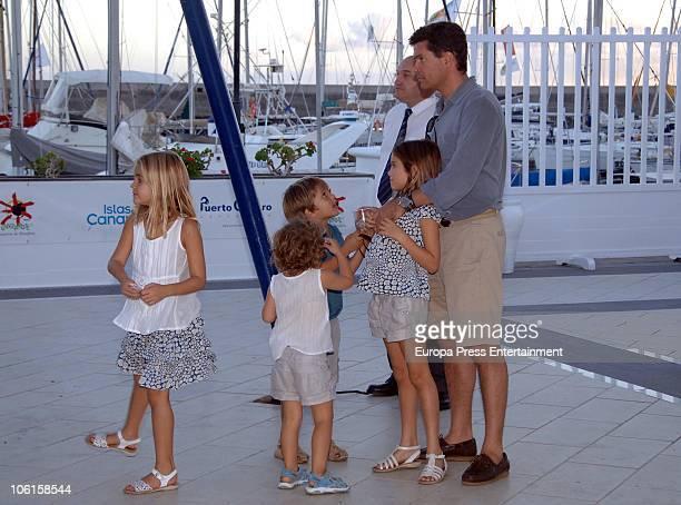 Carlos Morales and their children Ana Maria Amelia Carlos and Arrieta are seen sighting on October 24 2010 in Lanzarote Spain