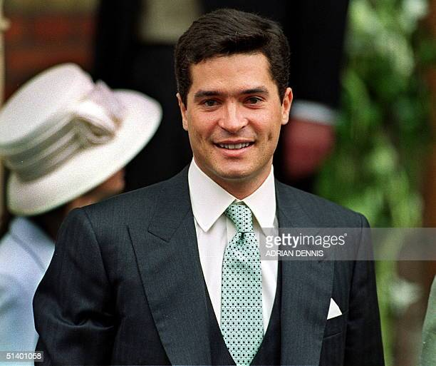 Carlos Morales Quintana of Spain smiles as he enters St.Sophia Cathedral to marry Princess Alexia of Greece in London, 09 July 1999. The wedding of...