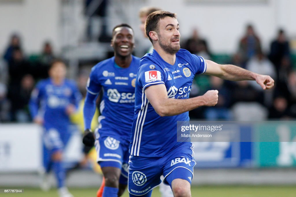 Carlos Moros Gracia of GIF Sundsvall celebrates after scoring during the Allsvenskan match between GIF Sundsvall and Hammarby IF at Norrporten Arena on October 29, 2017 in Sundsvall, Sweden.
