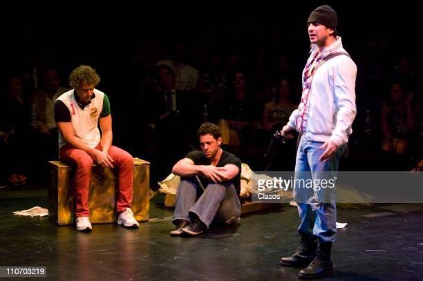 Carlos Mota Alberto Agnesi and Alejandro Avila work in the presentation of the theater play Cash at Polyforum Cultural Siqueiros Theater on March 22...