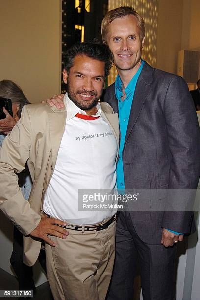 Carlos Mota and Malcolm Carfrae attend Calvin Klein hosts a party to celebrate Bryan Adams' new photo book American Women to benefit The Society of...