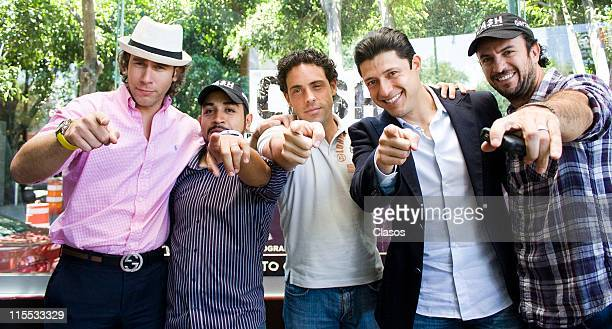 Carlos Mota Luis Fernando Pena Alberto Agnesi Salvador Ibarra and Alejandro Avila during a photo session with the cast of the theater play CASH on...