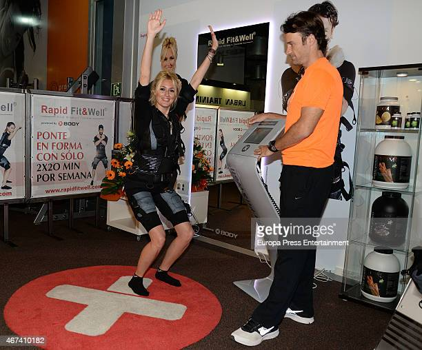 Carlos Moya and Carolina Cerezuela present 'Rapid FitWell Beauty' at Profitness Urban Club on March 23 2015 in Palma de Mallorca Spain