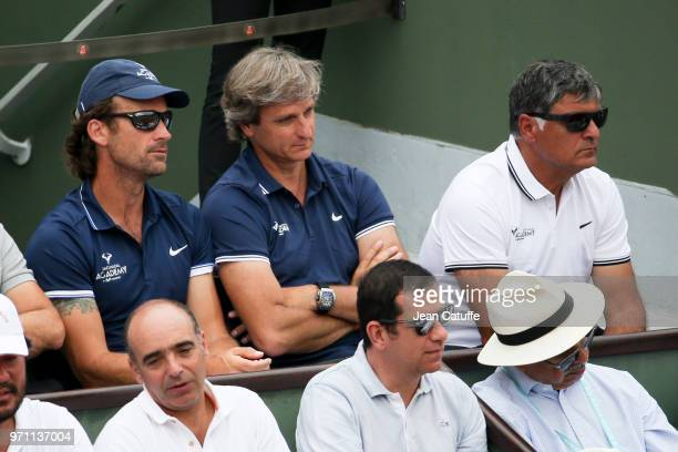 Carlos Moya Coach of Rafael Nadal of Spain with his agent Carlos Costa and his uncle Toni Nadal during the men's final on Day 15 of the 2018 French...