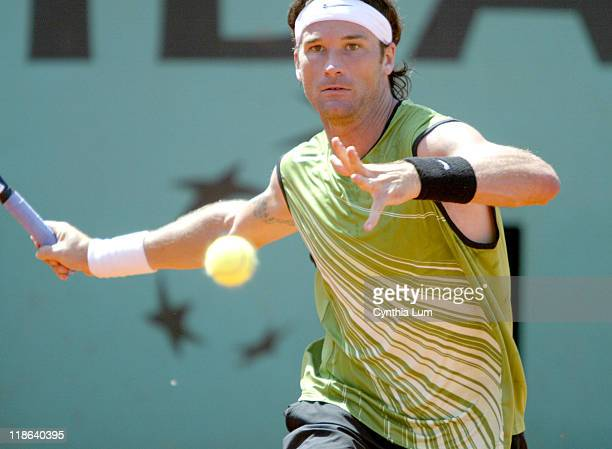 Carlos Moya defeats countryman Fernando Vicente 64 76 67 06 64 in the 3rd round of the Paris Open on the May 27 2005
