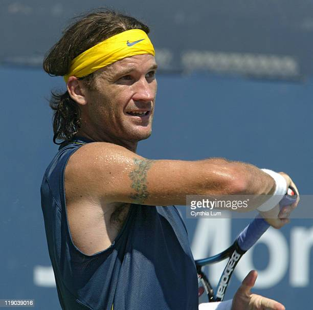 Carlos Moya during his match against Davide Sanguinetti in the second round of the 2005 US Open at the USTA National Tennis Center in Flushing, New...