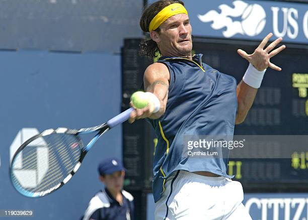 Carlos Moya during his match against Davide Sanguinetti in the second round of the 2005 US Open at the USTA National Tennis Center in Flushing New...