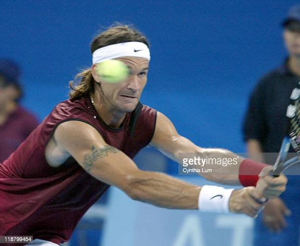 Carlos Moya in action against Ivo Karlovic in the third round of men's singles during the Athens 2004 Olympics Games at Goudi Olympic Hall in Athens...