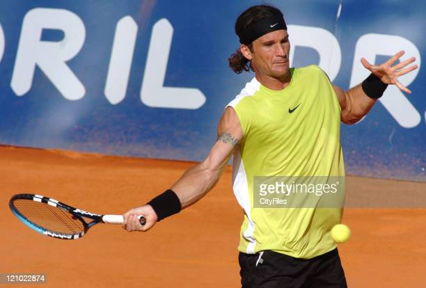 Carlos Moya in action during his winning match with Gustavo Marcaccio, 1-6, 5-7, in the second round of the Estoril Open 2006 at the Estadio Nacional...