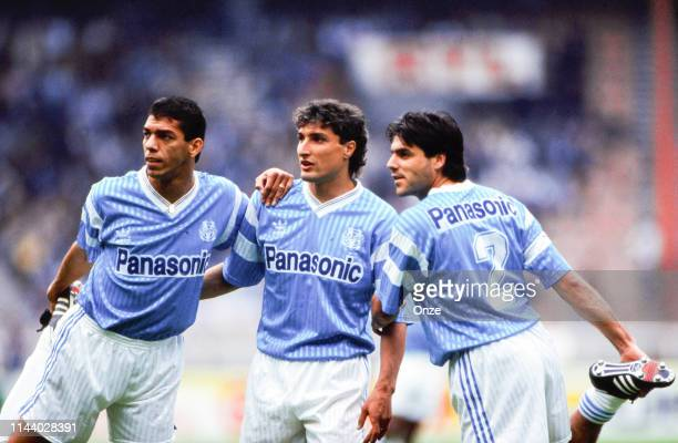 Carlos Mozer, Bernard Casoni and Manuel Amoros of Marseille during the French cup final between Monaco and Marseille on June 8, 1991 in Parc des...