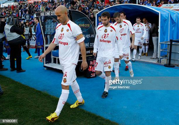 Carlos Nunes of Mallorca takes to the field before the start of the La Liga match between Getafe and Mallorca at Coliseum Alfonso Perez on March 13...