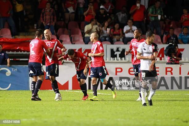Carlos Ochoa of Veracruz celebrates a goal during a match between Veracruz and Atlas as part of 8th round Apertura 2014 Liga MX at Luis 'Pirata'...