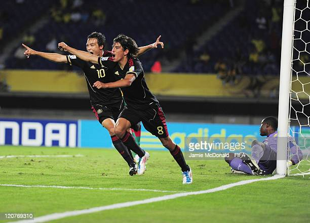 Carlos Orrantia of Mexico celebrates his goal during the FIFA U20 World Cup Round of 16 match between Cameroon and Mexico at the Estadio Hernan...