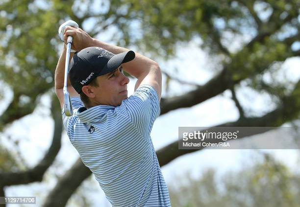 Carlos Ortiz of Mexico hits his tee shot on the seventh hole during The Open Qualifying Series part of the Arnold Palmer Invitational at Bay Hill...