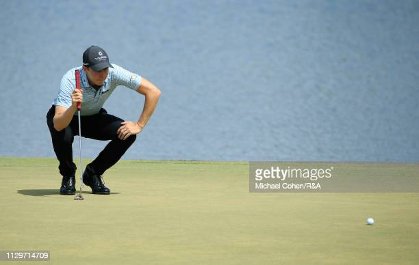 Carlos Ortiz of Mexico lines up a putt on the sixth green during The Open Qualifying Series part of the Arnold Palmer Invitational at Bay Hill Club...