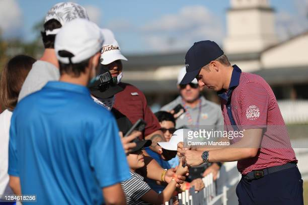 Carlos Ortiz of Mexico signs autographs for fans after winning the Houston Open at Memorial Park Golf Course on November 08, 2020 in Houston, Texas.