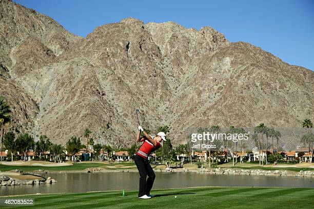 Carlos Ortiz of Mexico takes tees off on the fifth hole during round three of the Humana Challenge in Partnership with The Clinton Foundationon on...